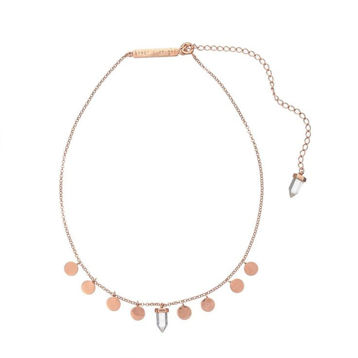 Krystle Knight - Creation Coin Choker | Clear Quartz | Rose Gold Plated