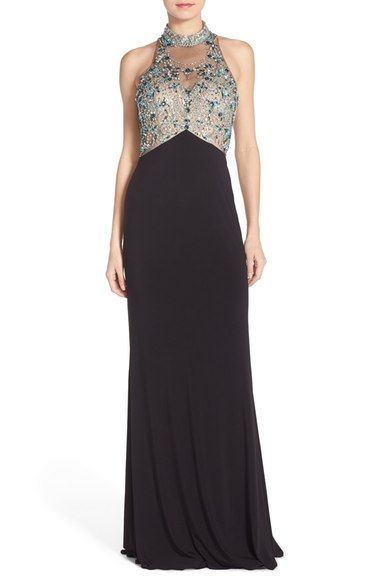 Sean Collection Embellished Mesh & Jersey Gown available at #Nordstrom