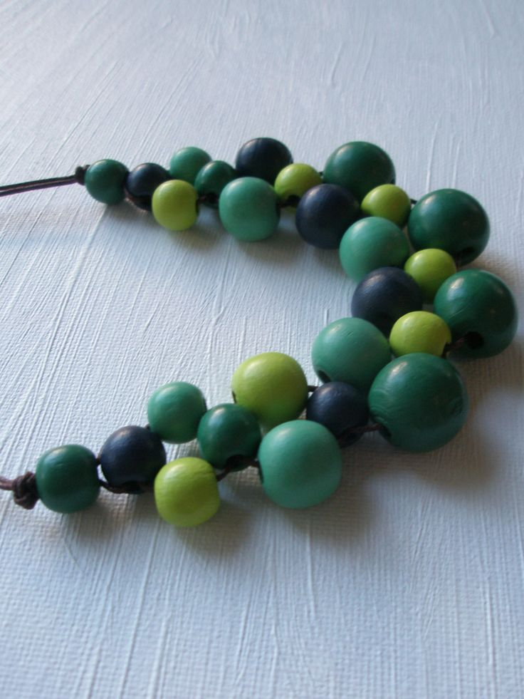 Bib Necklace Wooden Beads Green/Blue Wooden by VibrantDesign on Etsy https://www.etsy.com/listing/189209374/bib-necklace-wooden-beads-greenblue