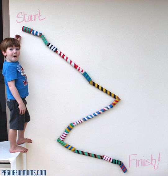 DYI Marble Track! (This is way prettier than the one Craig and I made but it's a great use for all the paper towel and toilet paper rolls I keep saving!)