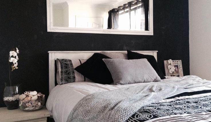 Bed room grey black white