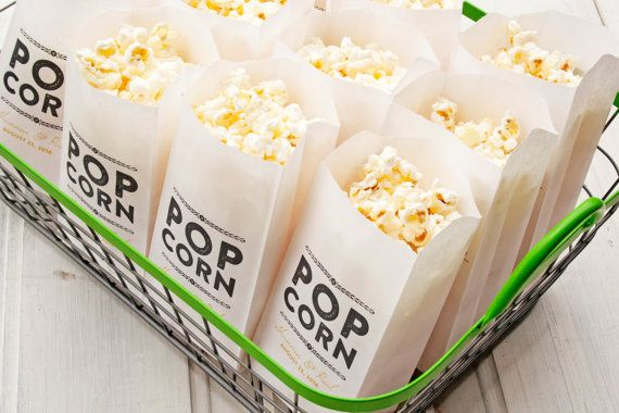 Wedding Favor Popcorn Bags  Rustic Gold Popcorn Favors   by mavora