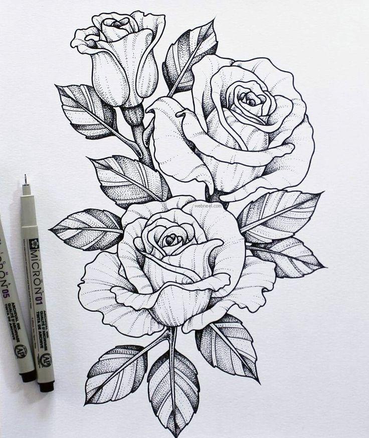 Для, рисунок розы для тату