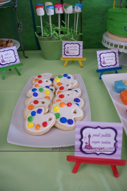 Love the cookies and marshmallows....paint Palette Cookies would be SO precious for that art party I've been wanting to have for Adalyn and friends :)