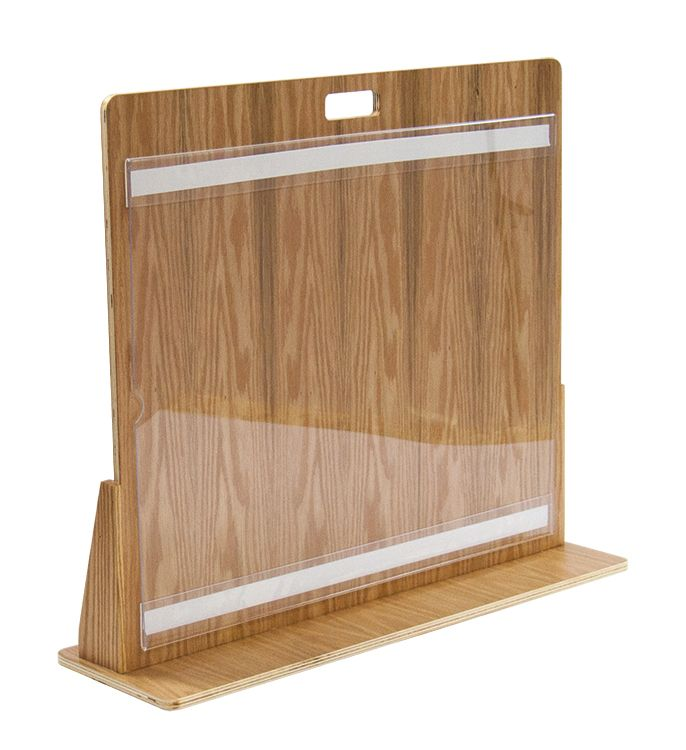 Oak plywood with clear coat finish and clear acrylic side loading poster holder.