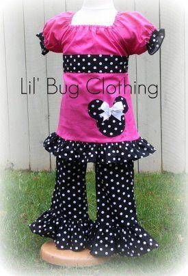 Hot Pink Peasant Top Black White Dot Minnie Mouse Pant Set