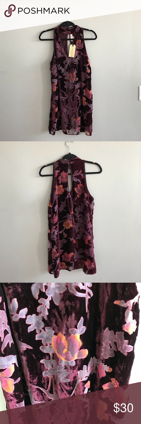 "Band Of Gypsies NWT Burgundy Velvet Burnout Dress Has a small rip with fraying, shown in photos, but if your handy with a needle it would be a easy fix. Also has some loose threads on the back. Choker dress. Floral. Lined.  34"" length  19"" pit to pit  No trades  Bundle all of your likes for a private discount Band of Gypsies Dresses"
