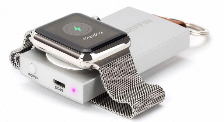 Griffin Travel Power Bank est une batterie miniature servant de porte-clés et qui offre un socle circulaire de recharge pour la smartwatch Apple Watch.