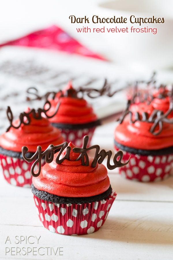 love the chocolate letters! :: Dark Chocolate Cupcake Recipe with Red Velvet Frosting
