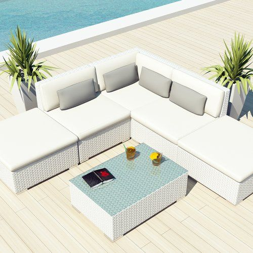 amazoncom uduka outdoor sectional patio furniture white wicker sofa set porto 6 off - Sectional Patio Furniture