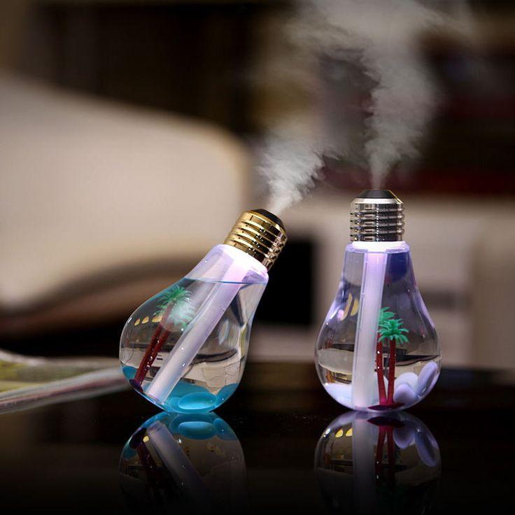 Mini Bulb Humidifier Colorful LED Night Light Home Air Diffuser USB Portable Mist Maker