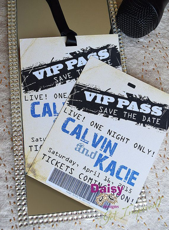 Save the Date Backstage Pass  Concert Ticket by ShastasShop