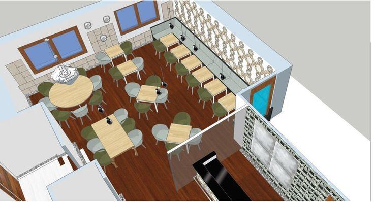Vista aérea de la zona de comedor de un proyecto de un restaurante italiano