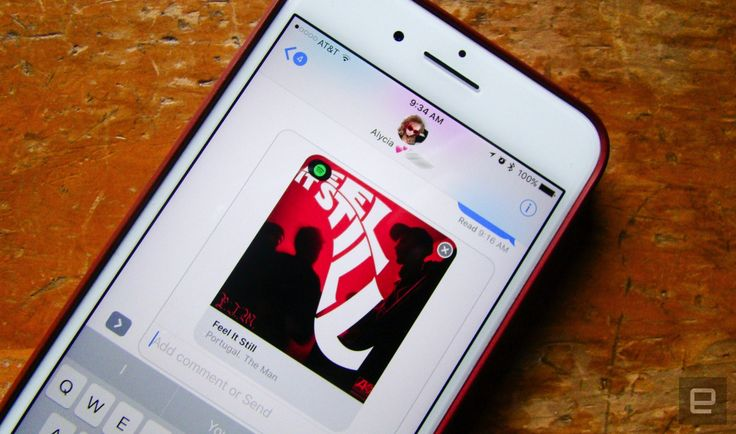 Spotify's iMessage app shares clips of your favorite songs Spotify has gotten into a variety of non-Spotify apps lately from an integration with crowd-sourced traffic app Waze to Facebook Messenger. Now you can send and receive tracks from the streaming music service within Apples iMessage too. Spotifys iMessage app is available now allowing users to quickly search for and share music with friends directly from iMessage a Spotify spokesperson told Engadget. Its the latest way in which were…