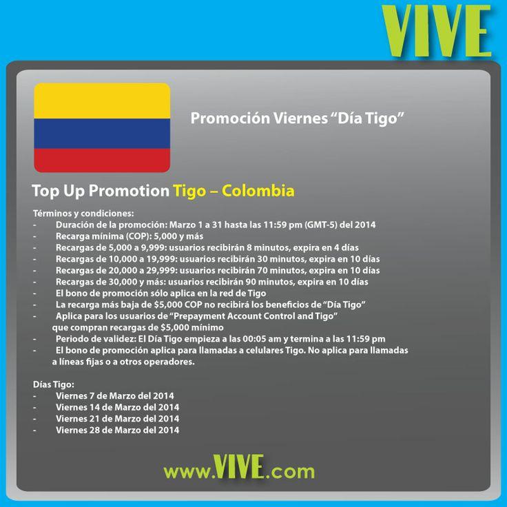 #Promoción #Viernes: en marzo aprovecha el #DíaTigo y los bonos de promoción para enviar una #recarga #móvil a #Tigo #Colombia! Con www.vive.com, revive la alegría de hablar con tu familia y amigos