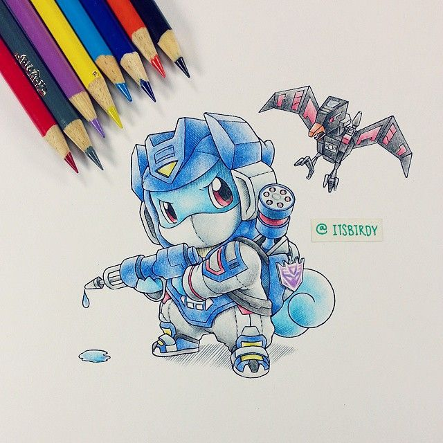 First #Deceptimon of it's kind! This one was a side assignment for my friend @blastofftoys. Long overdue I think =(.. He wanted me to draw Squirtle in a onesie of his favorite Decepticon. Easy enough, kind of. #Squirtlewave #Crayola #Illustration #iliketurtles