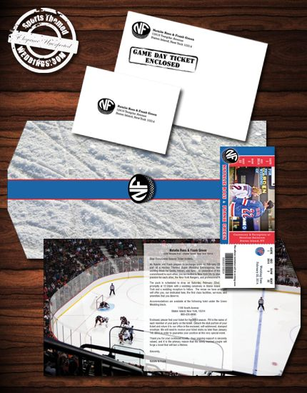 Our deluxe line of ticket themed wedding invitations is perfect for a hockey themed wedding.  With its custom trifold, it takes on more of a traditional-looking invite form factor.  Order yours today!
