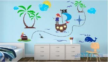 Красивая наклейка на стену Пиратский клад в интерьере детской комнаты