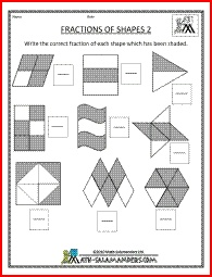 Fractions of Shapes 2, a math fraction worksheet to recognise fractions for grade 3.