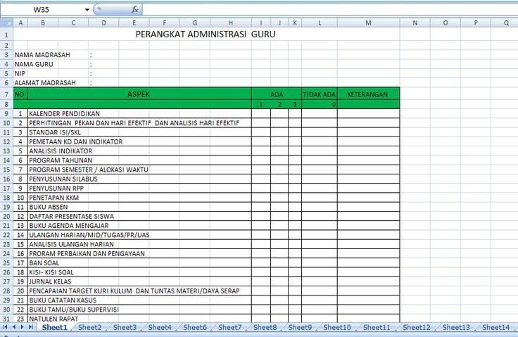 Download Bentuk Format Perangkat Administrasi Guru Terbaru 2016 dalam 1 File Excel