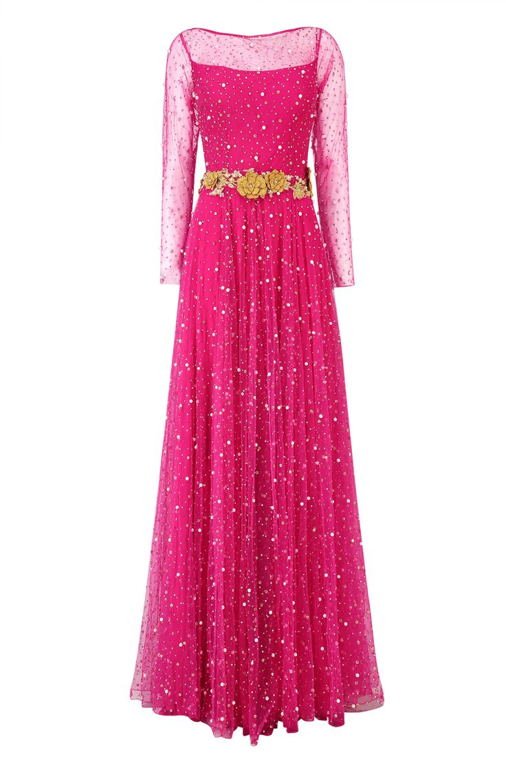 Carrot red pearl and sequins embroidered floor length anarkali gown available only at Pernia's Pop Up Shop.