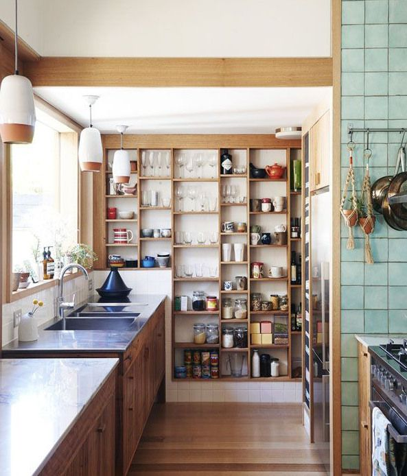 elegant open kitchen shelves