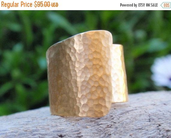 SALE 10% OFF gold ring  hammered sterling silver 24k by preciousjd