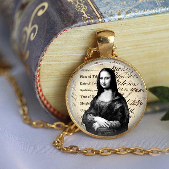 Leonardo Da Vinci MONA LISA Pendant Necklace by LiteraryArtPrints