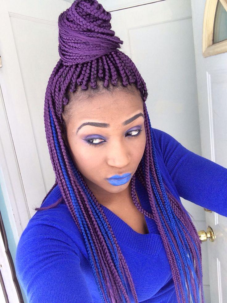 Purple Box Braids Afro Hair Color Hair Stylea Twist