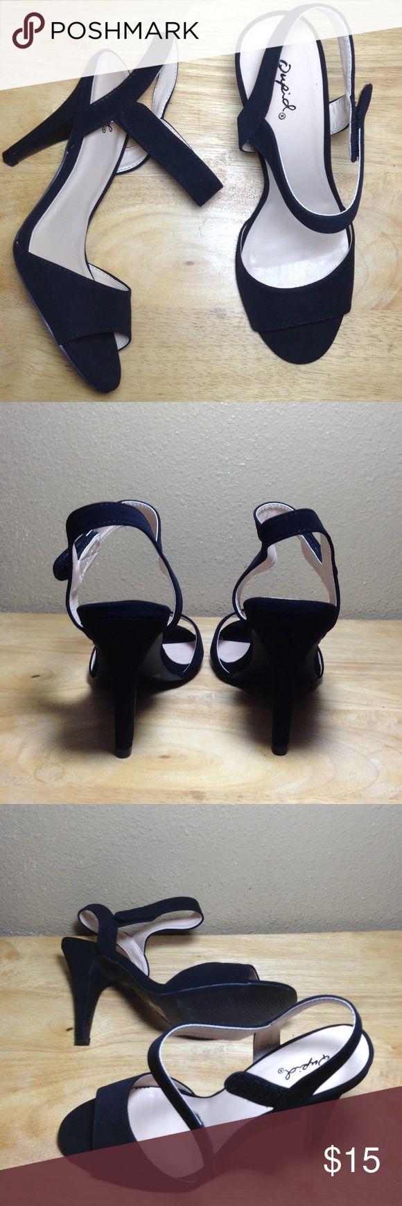 Black suede-like heels velcro strap size 9 Black suede-like high heels with Velcro strap. Size 9 Shoes Heels