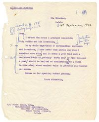 """Letter from Wing Commander Winterbotham  Directorate of Intelligence, to GM Garro Jones, the Parliamentary Secretary for the Ministry of Production. Winterbotham expresses enthusiasm for Wallis and his """"rota-mine"""" which had already proved itself two months earlier in a test against the Nant-y-Gro Dam in Wales."""