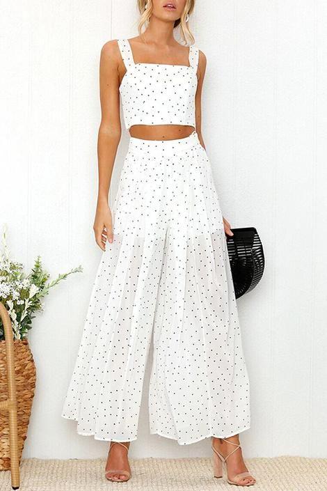 Orsle Fashion Square Neck Dot Printed White Two-piece Set 1