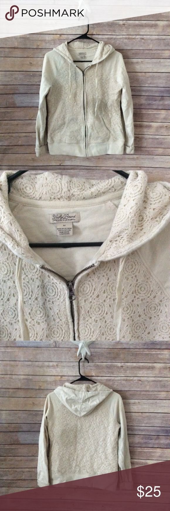 Lucky Brand Cream Crochet Zip Hoodie sz M Great condition, cute and casual zip-up hoodie. ❌no trades, holds, or lowball offers. ✅Clean and smoke free home, quick shipping, bundle discount, always! 🎁Free gift with $15+ bundle. Lucky Brand Tops Sweatshirts & Hoodies