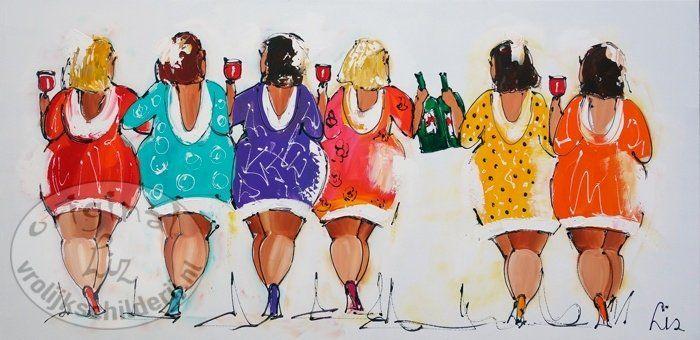 Vrolijk Schilderij Schilderij dikke dames