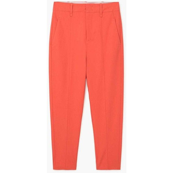 Cotton Trousers (89 CAD) ❤ liked on Polyvore featuring pants, trousers, zipper pants, red trousers, cotton pants, mango trousers and red cotton pants