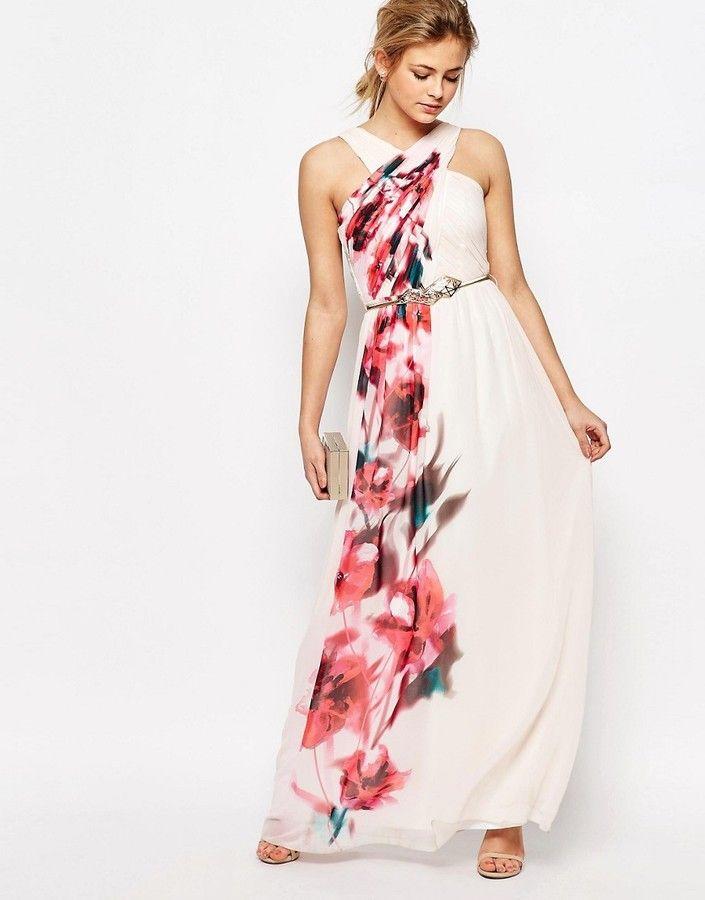 Shop Little Mistress Cross Front Floral Placement Maxi Dress at ASOS.