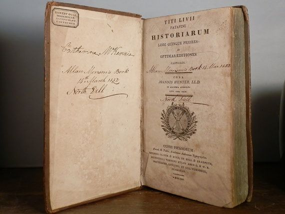 Cura di cuoio antico Hardcover libro Historiarum Libri Quinque Priores 1822 Joannis Hunter scritto nel DanPickedMinerals di lingua latina