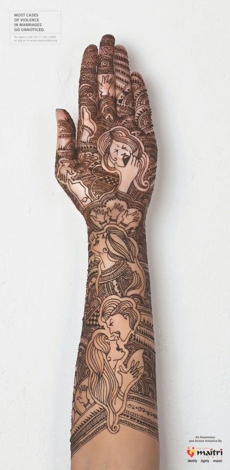 Maitri India -Mehndi against violence in marriages.   Most cases of violence in marriages go unnoticed.