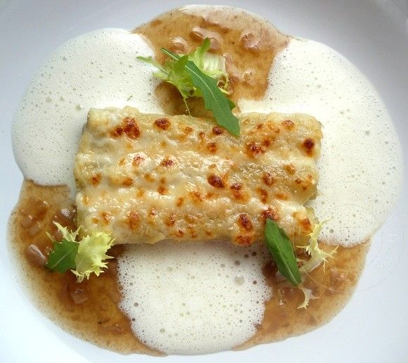 Eric Frechon - Macaronis farcis truffe noire artichauts foie gras de canard vieux parmesan - La Table des Chefs