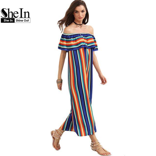 SheIn Mujeres Nuevo Verano de la Playa Ocasional Vestidos Largos de Las Señoras Multicolor A Rayas de Manga Corta Fuera Del Hombro Vestido de La Colmena