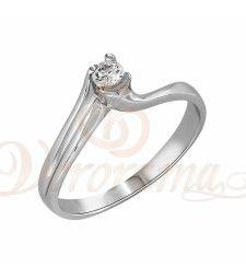 Μονόπετρo δαχτυλίδι Κ18 λευκόχρυσο με διαμάντι κοπής brilliant - MBR_012