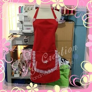 Celemek Cutie RED - PERSONALIZE APRONS, CAFE, RESTO, BAKERY, CAKERY