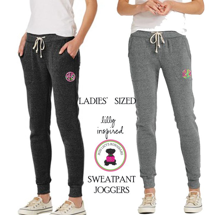 Personalized Lilly Inspired LADIES' Sweatpant Jogger Pant - FREE SHIP - Miss Lucy's Monograms
