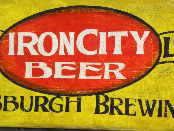 Antique Wood Signs | Iron City-hand painted wood sign vintage Beer sign