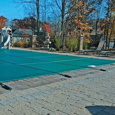 16 X 32 Green Mesh Inground Swimming Pool Safety Cover w/ 4x8 Center End Step