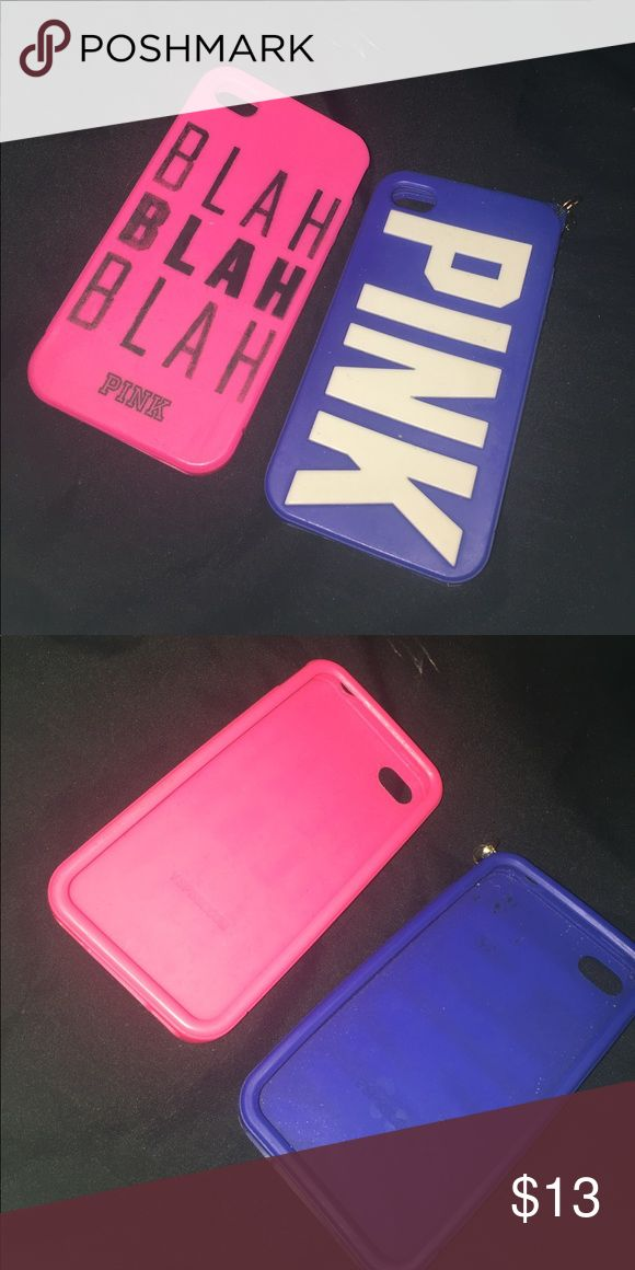 iPhone 4/4s VS cases! Both are brand new silicone cases! Protects edges of  your phone from cracking, scratching etc! Price is for both! PINK Victoria's Secret Accessories Phone Cases