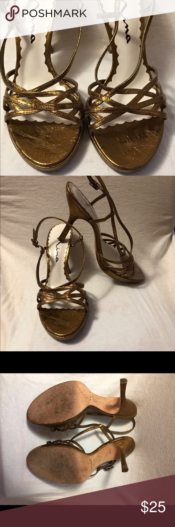 """Nina Copper Metallic Strappy Heels Size 7 Near perfect condition! Nina Copper Metallic strappy 4"""" heels. Virtually no signs of wear except on soles. Size 7 very comfortable for evening! Wore only 2xs to weddings! Nina Shoes Heels"""