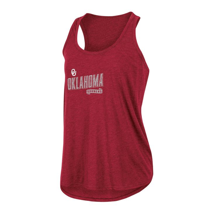NCAA Women's Gameday Heathered Racerbank Soft Touch Poly Tank Top Oklahoma Sooners - L, Multicolored