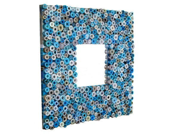 Teal Mirror - Mirror Handmade from Recycled Magazines and Cardboard. Available at http://www.etsy.com/shop/gr3een