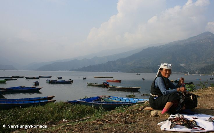 Woman from Tibet at Pokhara lake in Nepal - People we meet travelling
